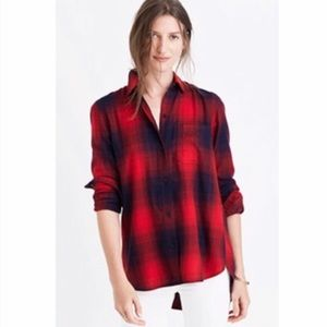 Madewell Red & Navy Long Sleeve Ex-bf Flannel